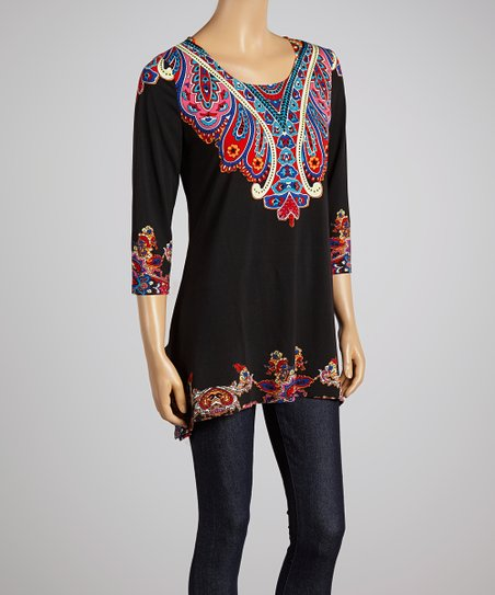 Black & Blue Paisley Tunic