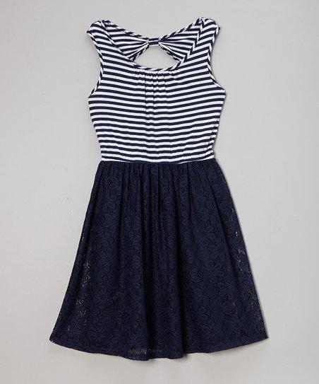 Navy Stripe Crocheted Overlay Dress