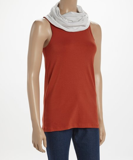 Burnt Orange & White Stafford Cowl Neck Tank
