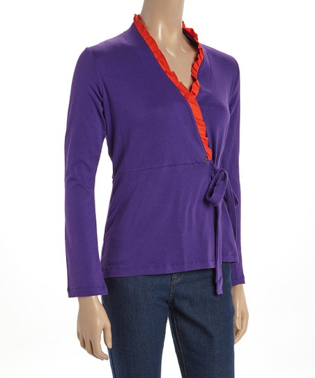 Purple & Orange Rachel Long-Sleeve Wrap
