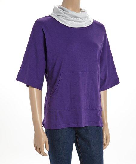 Purple & White Kendall Cowl Neck Poncho