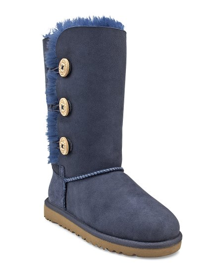 Navy Blue Button Triplet Bailey Suede Boot