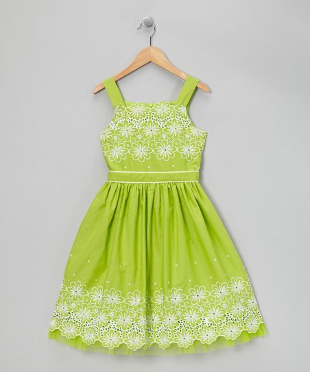 Lime Green Eyelet Daisy Dress - Girls Plus