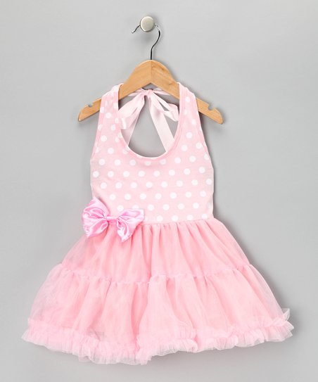 Pink Polka Dot Halter Top Dress - Infant, Toddler & Girls