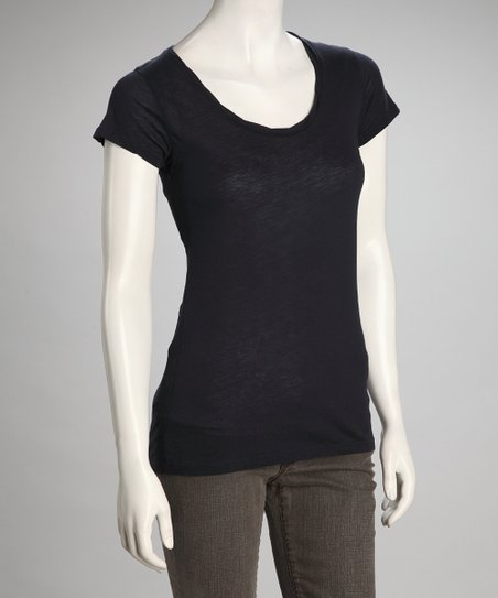 Navy Scoop Neck Top