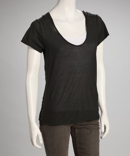 Carbon Linen-Blend V-Neck Top