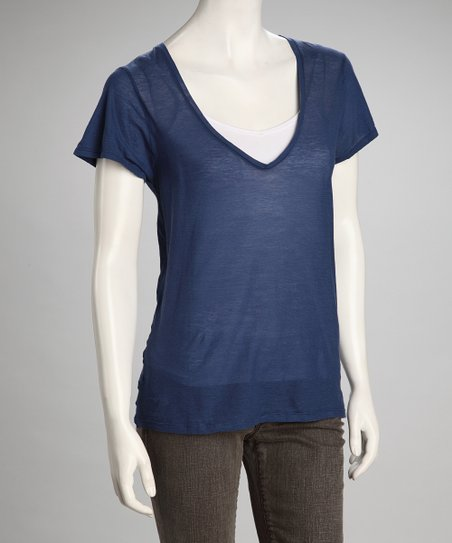 Indigo Linen-Blend V-Neck Top