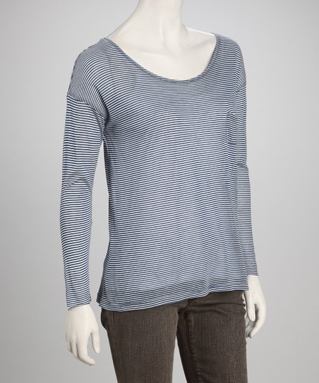 White & Indigo Scoop Neck Top