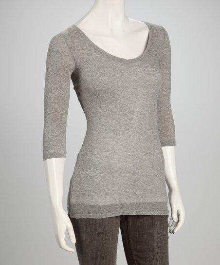 Pebble Mélange Three-Quarter Sleeve Top