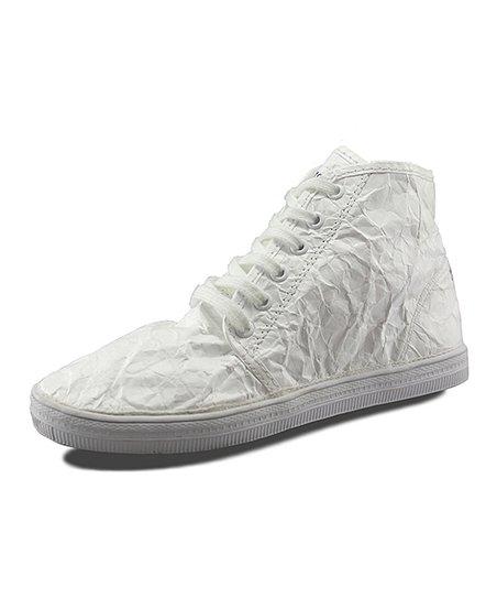 White Wrinkle Hang Up Demi Hi-Top Sneaker