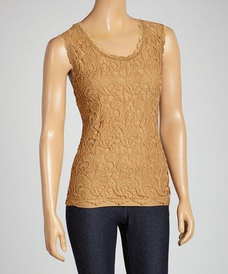 Coffee Crocheted Sleeveless Top