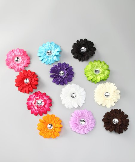 Rainbow Gerbera Daisy Clip Set