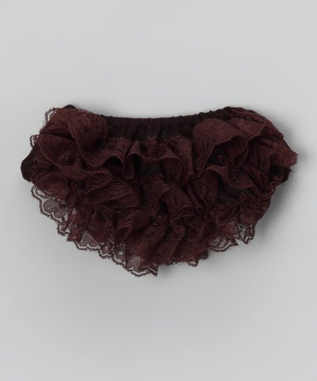 Chocolate Lace Ruffle Diaper Cover - Infant