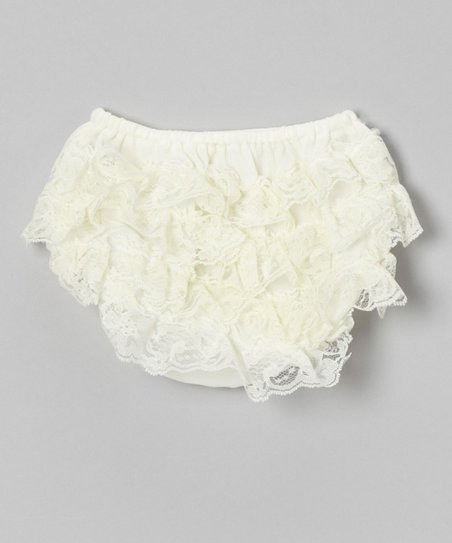 Ivory Lace Ruffle Diaper Cover