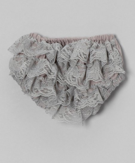 Silver Lace Ruffle Diaper Cover