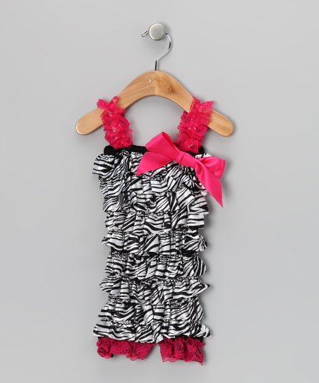 Zebra & Hot Pink Ruffle Romper - Infant & Toddler