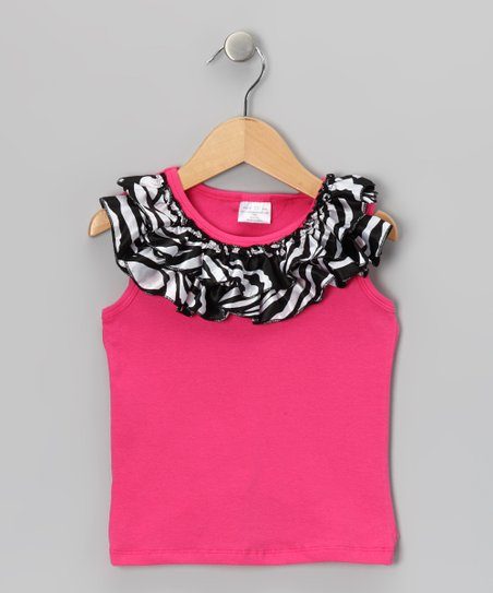 Hot Pink Zebra Ruffle Tank - Infant, Toddler & Girls