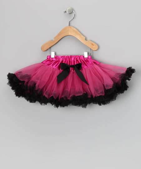 Black & Hot Pink Bow Pettiskirt - Toddler & Girls