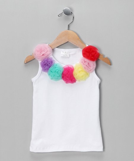 White &amp; Rainbow Rosette Tank - Toddler &amp; Girls
