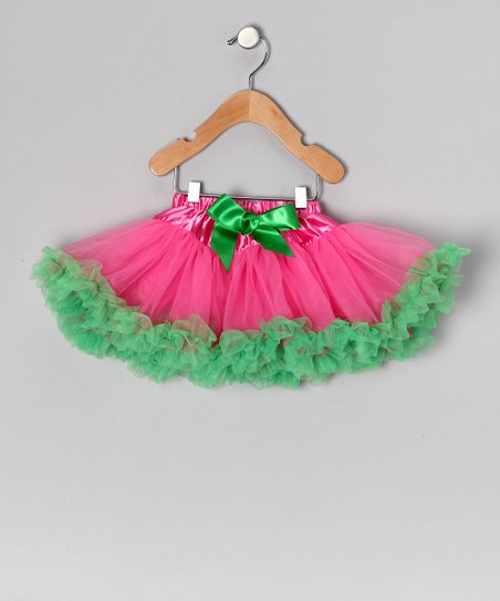Pink & Kelly Green Bow Pettiskirt - Infant, Toddler & Girls