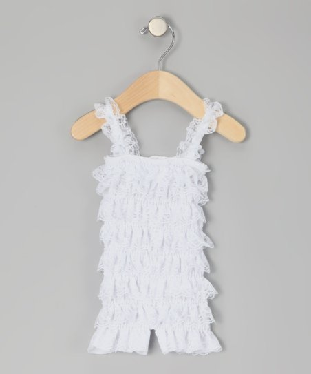 White Ruffle Romper - Infant &amp; Toddler
