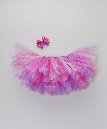 Purple & Pink Tutu & Bow Clip – Infant, Toddler & Girls