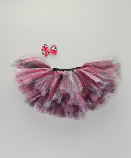 Fuchsia & Black Tutu & Bow Clip - Infant, Toddler & Girls