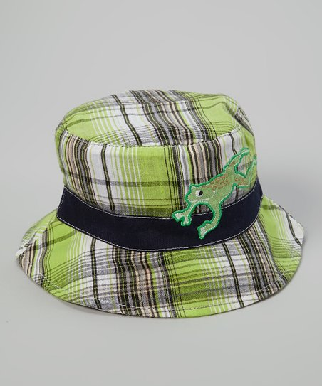 Blue & Green Plaid Frog Bucket Hat