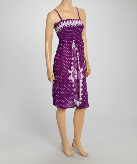 Purple & White Polka Dot Shirred Sleeveless Dress