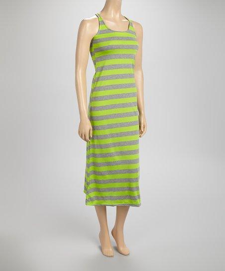 Lime & Gray Stripe Maxi Dress