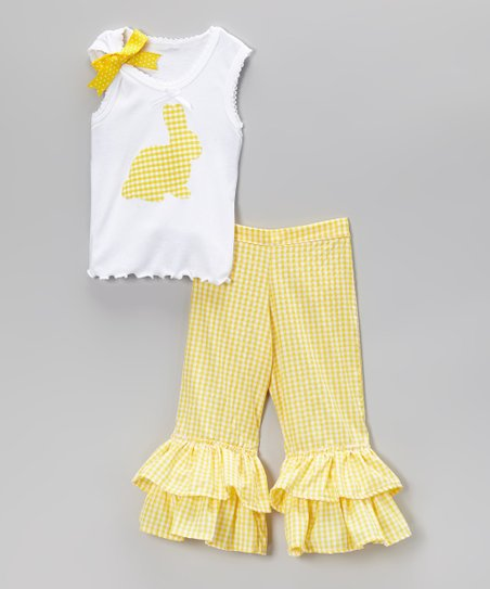 Yellow Gingham Bunny Tank & Ruffle Pants – Toddler & Girls