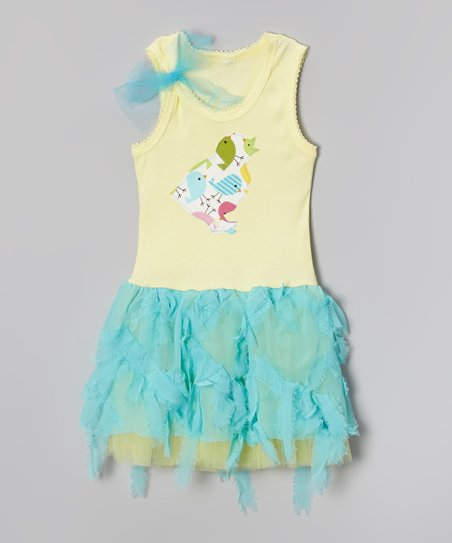 Teal & Yellow Chick Tank Dress – Toddler & Girls