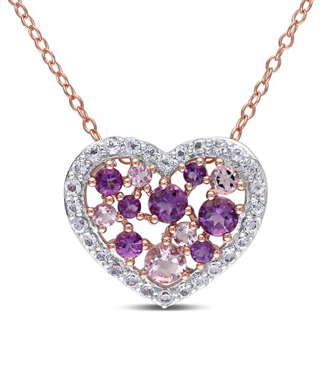 White Topaz & Rose de France Heart Pendant Necklace