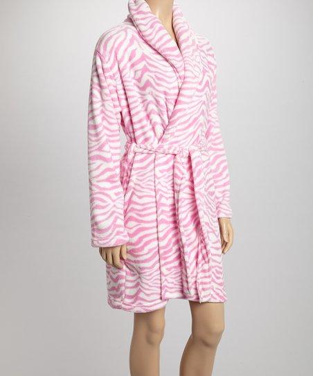 Pink & White Zebra Plush Robe