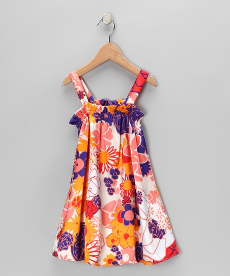 Purple & Orange Floral Swing Dress - Toddler