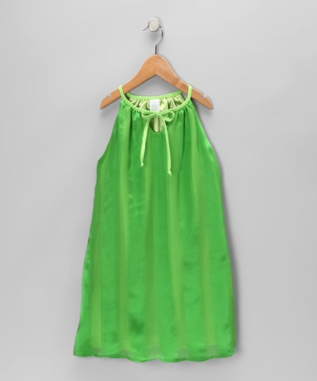 Green Silk Swing Dress - Toddler