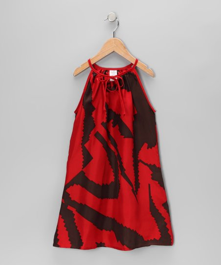Brown & Red Silk Swing Dress - Toddler & Girls