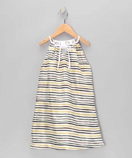 Ivory & Blue Stripe Silk Swing Dress - Toddler