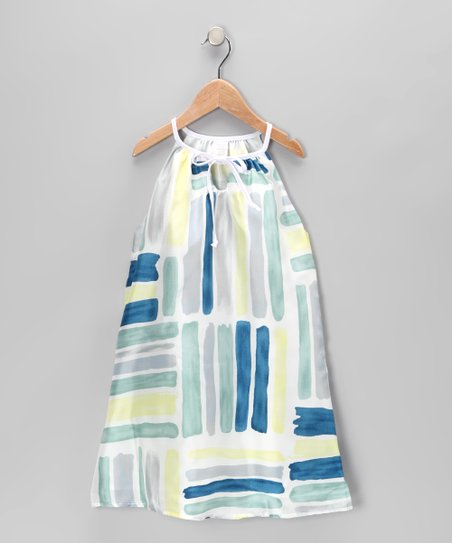 Blue & Green Stripe Silk Swing Dress - Toddler & Girls