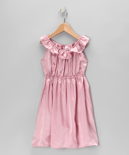 Light Pink Ruffle Collar Silk Dress - Toddler & Girls