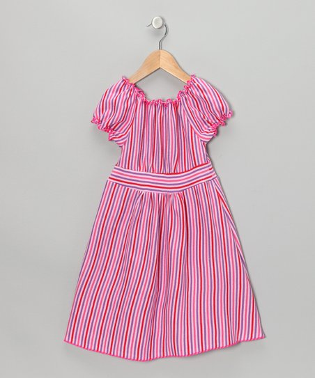 Pink & Purple Stripe Peasant Dress - Toddler & Girls