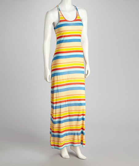 Pink & Orange Stripe Tank Maxi Dress
