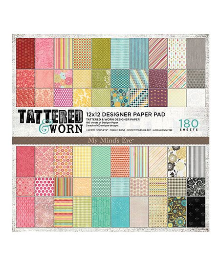 Tattered & Worn 180-Page Scrapbook Paper Pad