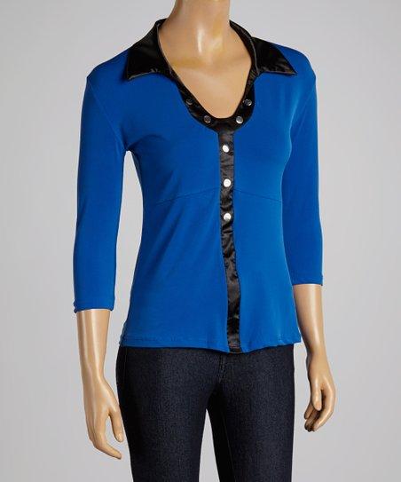 Dark Blue & Black Collar Top