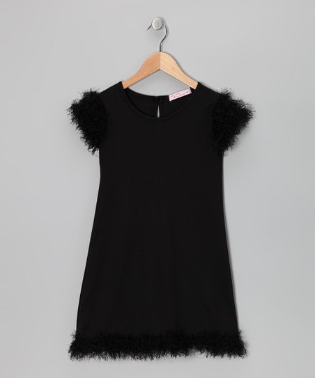 Baby Baby by Blush Black Feather Dress - Girls