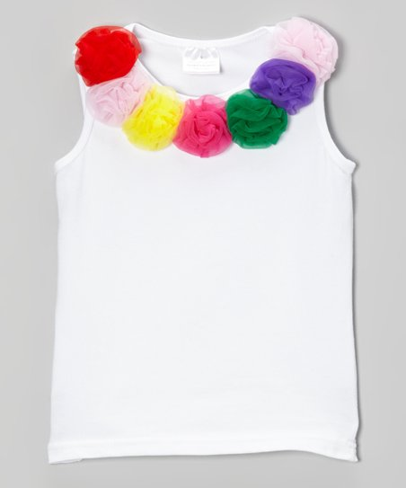 White & Rainbow Rosette Tank - Toddler & Girls