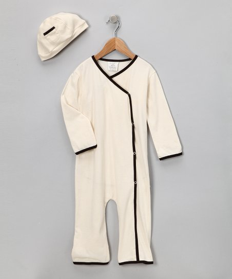 Teddy Brown Organic Playsuit & Beanie - Infant & Toddler