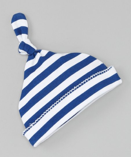 Navy Stripe Single-Knot Beanie