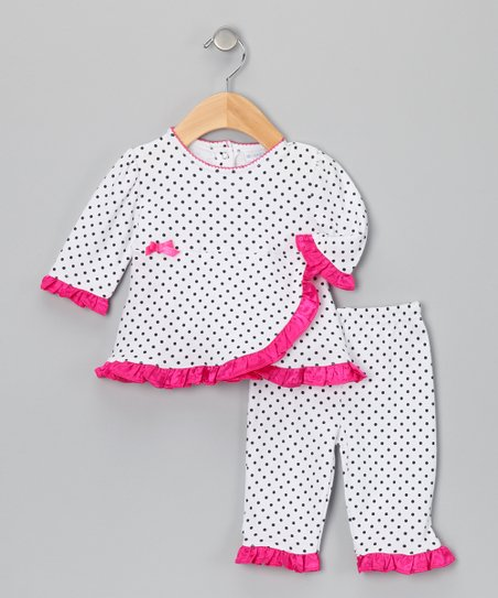 Raspberry Truffle Dot Wrap Top & Pants - Infant
