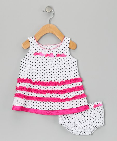 Raspberry Truffle Bow Dress & Diaper Cover - Infant